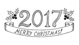 Vrolijke Kerstmis 2017 Hand het getrokken van letters voorzien Vector illustratie Stock Foto