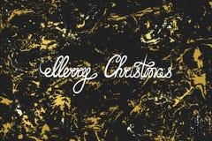Vrolijke Kerstmis Hand het van letters voorzien op een zwarte glanzende gouden textuur grunge Groet, uitnodigingskaart, banner, e vector illustratie