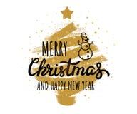 Vrolijke Kerstmis, het Gelukkige Nieuwjaarhand van letters voorzien, grungy textuur Vectordieclipartillustraties op achtergrond w stock illustratie