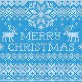 Vrolijke Kerstmis: Het Skandinavische verstand van het stijl naadloze gebreide patroon Stock Fotografie