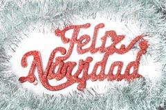 Vrolijke Kerstmis in het Spaans Royalty-vrije Stock Foto's