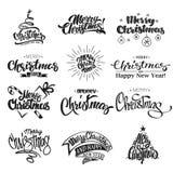 Vrolijke Kerstmis het Van letters voorzien Ontwerpreeks Stock Afbeeldingen