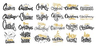Vrolijke Kerstmis het Van letters voorzien Ontwerpreeks Vector illustratie royalty-vrije illustratie