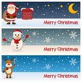 Vrolijke Kerstmis Horizontale Banners Stock Afbeelding