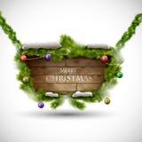 Vrolijke Kerstmis houten raad met sneeuw Stock Afbeelding
