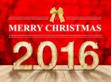 Vrolijke Kerstmis 2016 in houten textuur in perspectiefruimte met SP Royalty-vrije Stock Afbeeldingen