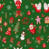 Vrolijke Kerstmis Illustratiewijnoogst Stock Afbeeldingen