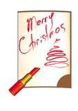 Vrolijke Kerstmis, inschrijvingslippenstift, notitieboekje Royalty-vrije Stock Foto's
