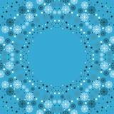 Vrolijke Kerstmis Kader met sneeuwvlokken van blauw en wit op een blauwe achtergrond Stock Foto