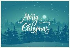 Vrolijke Kerstmis Kalligrafisch retro Kerstkaartontwerp met de winterlandschap Vector illustratie Royalty-vrije Stock Foto's