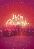Vrolijke Kerstmis Kalligrafisch retro Kerstkaartontwerp met de winterlandschap Vector illustratie Stock Foto