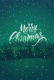 Vrolijke Kerstmis Kalligrafisch retro Kerstkaartontwerp met de winterlandschap Vector illustratie Stock Afbeeldingen