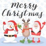 Vrolijke Kerstmis Kerstman, herten en sneeuwman vector illustratie