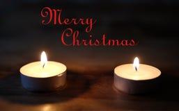 Vrolijke Kerstmis, Kerstmiskaarsen Royalty-vrije Stock Foto