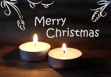 Vrolijke Kerstmis, Kerstmiskaarsen Royalty-vrije Stock Afbeelding