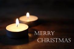 Vrolijke Kerstmis, Kerstmiskaarsen Stock Afbeeldingen