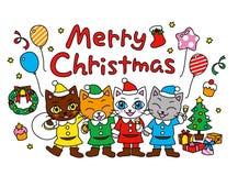 Vrolijke Kerstmis, Kerstmispartij, katten royalty-vrije illustratie