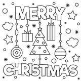 Vrolijke Kerstmis Kleurende pagina Vector illustratie Stock Foto