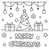 Vrolijke Kerstmis Kleurende pagina Vector illustratie Royalty-vrije Stock Fotografie