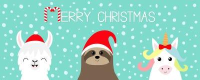 Vrolijke Kerstmis Lamaalpaca, de reeks van het luiaardgezicht De rode hoed van de Kerstman Sneeuwvlok Gelukkig Nieuwjaar Het leuk royalty-vrije illustratie