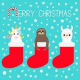 Vrolijke Kerstmis Lamaalpaca, luiaard, eenhoorn in rode sok Sneeuwvlok Het leuke karakter van beeldverhaal grappige kawaii Gelukk vector illustratie