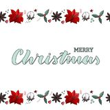 Vrolijke Kerstmis lichtgroene handlettering kaart met eindeloze grens stock illustratie