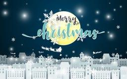 Vrolijke Kerstmis Maan en Santa Claus Driving in een Slee over stad bij de achtergrond van Nachtseance document kunststijl stock illustratie