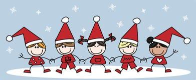 Vrolijke Kerstmis mengde etnische kinderen Stock Fotografie