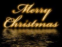 Vrolijke Kerstmis - met bezinning in gegolft water Royalty-vrije Stock Foto