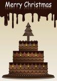 Vrolijke Kerstmis met de Cake van de Chocolade Stock Afbeeldingen
