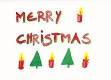 Vrolijke Kerstmis met de hand geschilderde kaart Stock Afbeelding