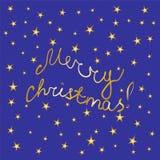 Vrolijke Kerstmis! Met de hand geschreven Gouden Brieven en Sterren op Blauwe Achtergrond Kerstman Klaus, hemel, vorst, zak Perfe Stock Afbeeldingen