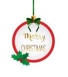 Vrolijke Kerstmis met de hand geschreven kalligrafie in rond kader Snuisterij als Royalty-vrije Stock Foto