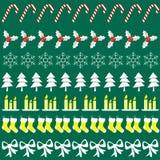 Vrolijke Kerstmis met decoratieelementen Stock Afbeeldingen