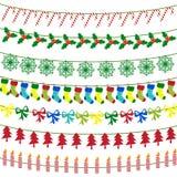 Vrolijke Kerstmis met decoratieelementen Stock Fotografie