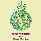 Vrolijke Kerstmis met decoratieelementen Stock Foto's