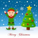 Vrolijke Kerstmis met Gelukkige Elf en Boom Stock Fotografie