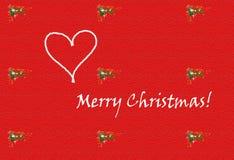 Vrolijke Kerstmis met hart. Stock Foto's