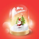 Vrolijke Kerstmis met Kerstmis Santa Claus in glaskoepel, Isometrische mening, stock illustratie