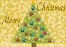 Vrolijke Kerstmis met Kerstmisboom en ballen Royalty-vrije Stock Afbeeldingen