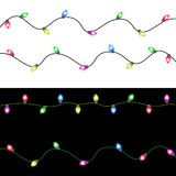 Vrolijke Kerstmis met Kleurrijke het Gloeien Kerstmislichten Royalty-vrije Stock Foto