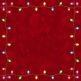 Vrolijke Kerstmis met Kleurrijke het Gloeien Kerstmislichten Stock Afbeelding