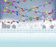 Vrolijke Kerstmis met Kleurrijke het Gloeien Kerstmislichten Royalty-vrije Stock Fotografie