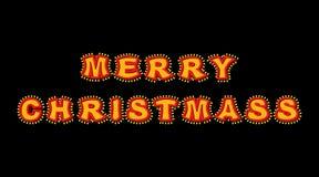 Vrolijke Kerstmis met lampen uitstekend teken Gloeiende brieven Vintag Royalty-vrije Stock Afbeelding