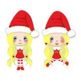 Vrolijke Kerstmis met Leuke Santa Girl Jumping Pompomhoed en Uitrusting Santa Claus Costume Mooie Jonge Vrouwenvector Stock Afbeeldingen