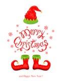 Vrolijke Kerstmis met rood hoed en schoenenelf Royalty-vrije Stock Fotografie