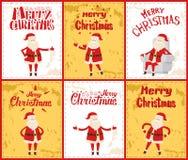 Vrolijke Kerstmis met Santa Posing in Beeldenvector stock illustratie