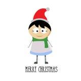Vrolijke Kerstmis met weinig jongensbeeldverhaal Stock Fotografie
