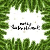 Vrolijke Kerstmis mooie kaart met de decoratievector van de Kerstmisboom Stock Foto's