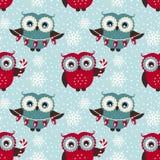 Vrolijke Kerstmis! Naadloos patroon met uilen Het kan voor prestaties van het ontwerpwerk noodzakelijk zijn Royalty-vrije Stock Foto